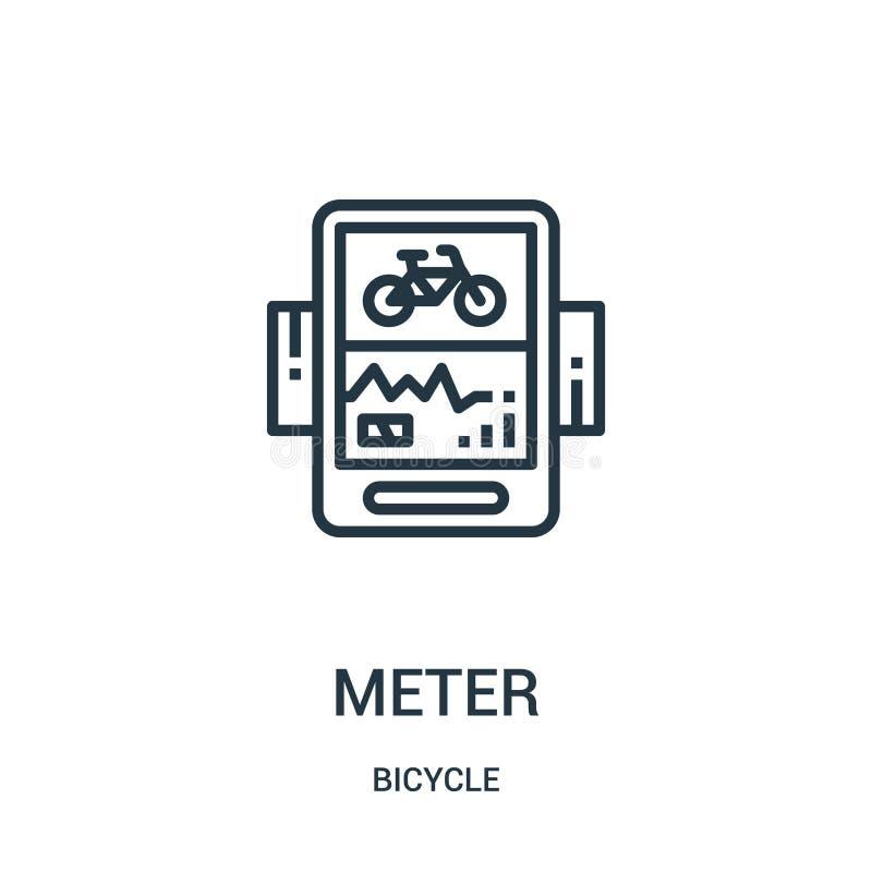 vetor do ícone do medidor da coleção da bicicleta Linha fina ilustração do vetor do ícone do esboço do medidor Símbolo linear par ilustração do vetor