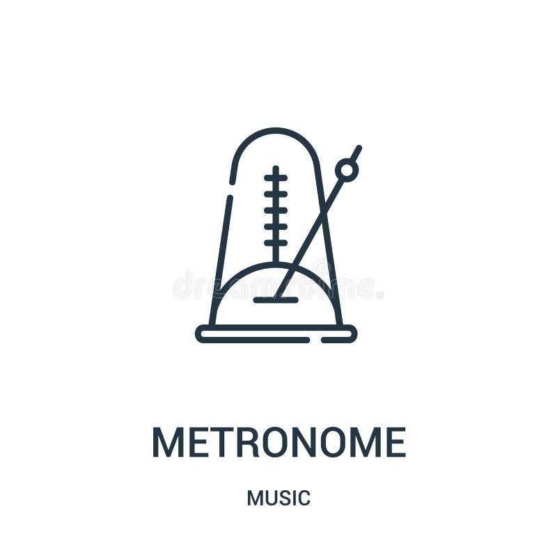 vetor do ícone do metrônomo da coleção da música Linha fina ilustração do vetor do ícone do esboço do metrônomo ilustração stock