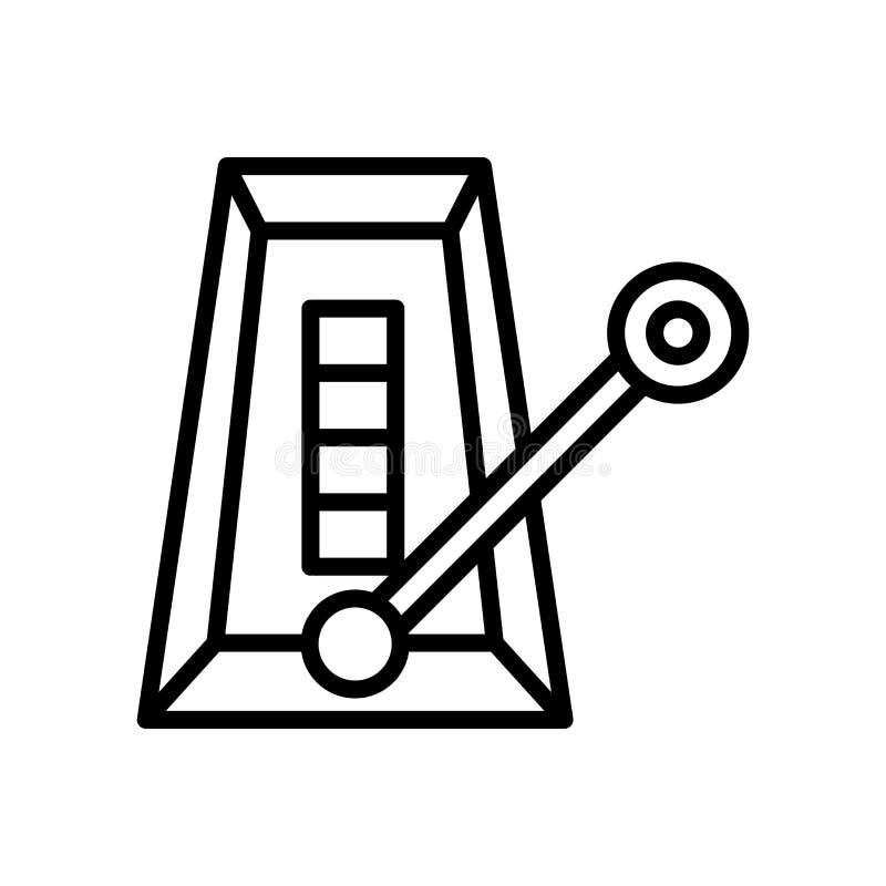 Vetor do ícone do metrônomo isolado no fundo, no sinal do metrônomo, na linha e nos elementos brancos do esboço no estilo linear ilustração do vetor