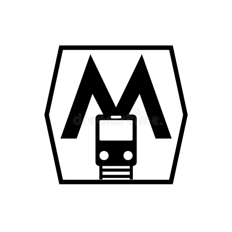 Vetor do ícone do metro isolado no fundo branco, sinal do metro ilustração royalty free