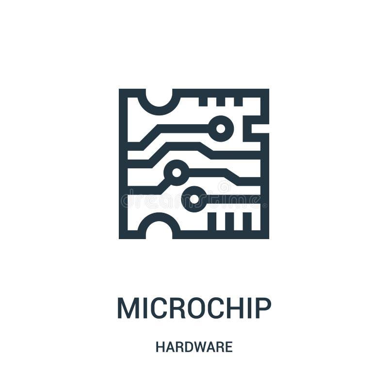 vetor do ícone do microchip da coleção do hardware Linha fina ilustração do vetor do ícone do esboço do microchip ilustração stock
