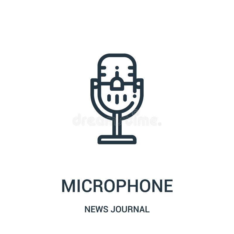 vetor do ícone do microfone da coleção do jornal da notícia Linha fina ilustração do vetor do ícone do esboço do microfone Símbol ilustração royalty free
