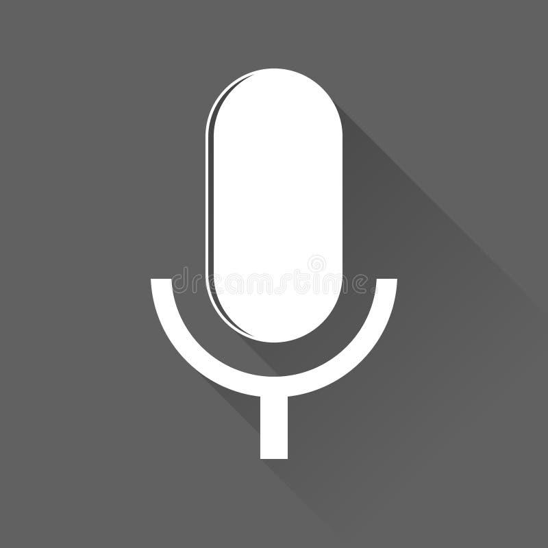 Vetor do ícone do microfone, gravadora de voz, entrevista, karaoke, sinal audio do sinal do jaque isolado no fundo branco Estilo  ilustração do vetor