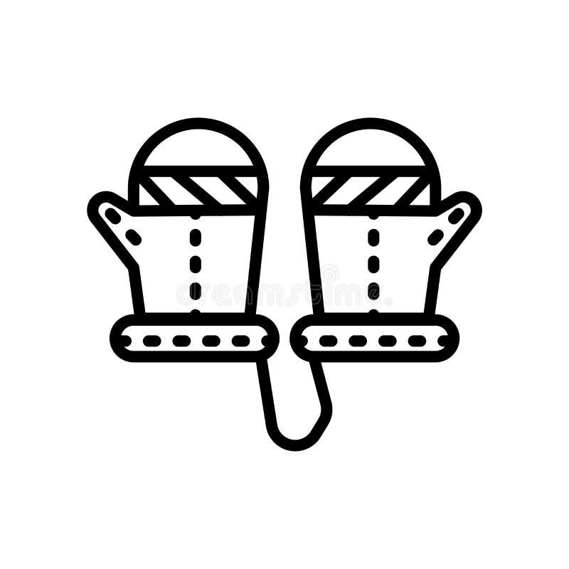 Vetor do ícone do mitene isolado no fundo branco, no sinal do mitene, no símbolo linear e nos elementos do projeto do curso no es ilustração stock