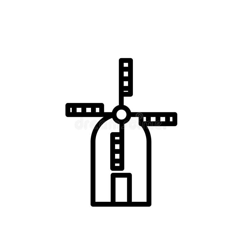 Vetor do ícone do moinho de vento isolado no fundo branco, no sinal do moinho de vento, na linha ou no sinal linear, projeto do e ilustração do vetor