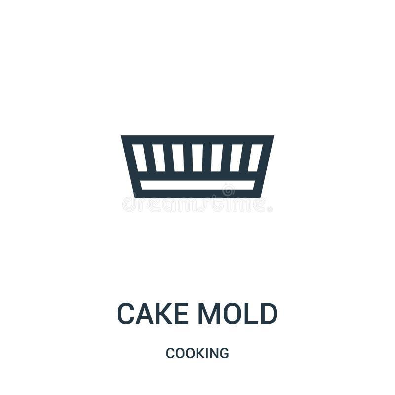 vetor do ícone do molde do bolo de cozinhar a coleção Linha fina ilustração do vetor do ícone do esboço do molde do bolo S?mbolo  ilustração stock