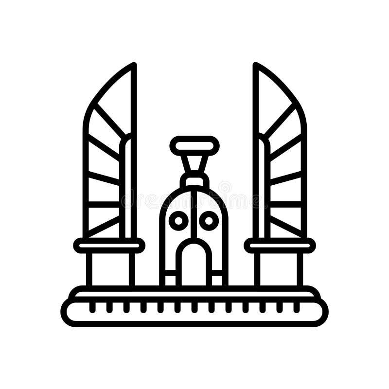Vetor do ícone do monumento da democracia isolado no fundo branco, no sinal do monumento da democracia, na linha ou no sinal line ilustração stock