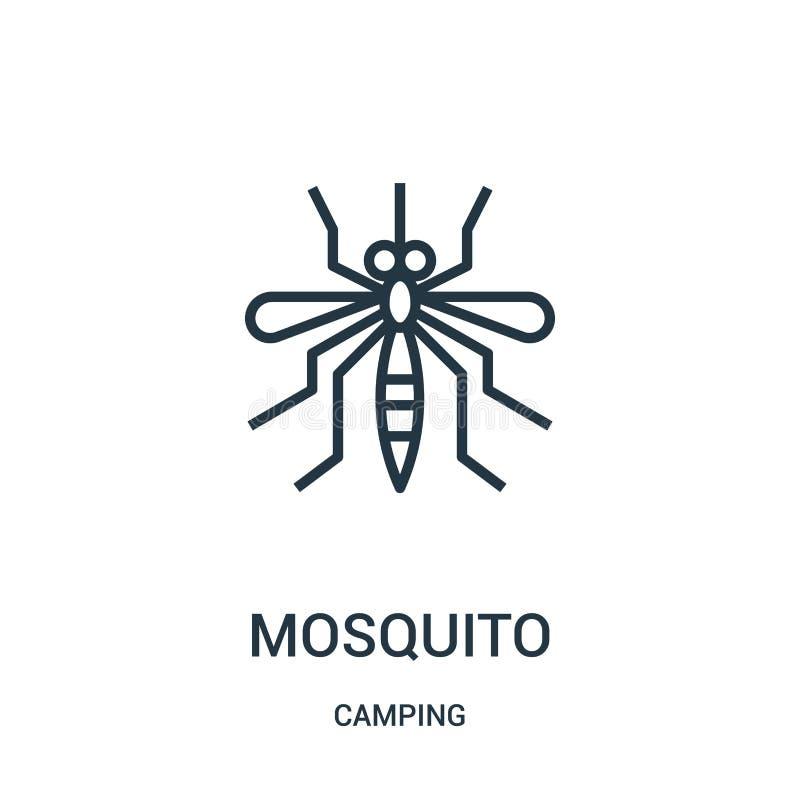 vetor do ícone do mosquito da coleção de acampamento Linha fina ilustra??o do vetor do ?cone do esbo?o do mosquito S?mbolo linear ilustração do vetor