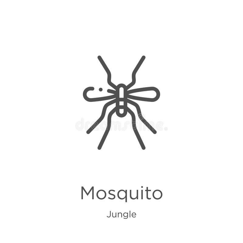 vetor do ícone do mosquito da coleção da selva Linha fina ilustração do vetor do ícone do esboço do mosquito Esboço, linha fina í ilustração do vetor