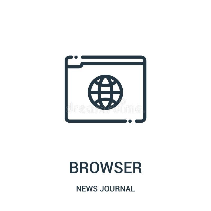 vetor do ícone do navegador da coleção do jornal da notícia Linha fina ilustração do vetor do ícone do esboço do navegador Símbol ilustração do vetor