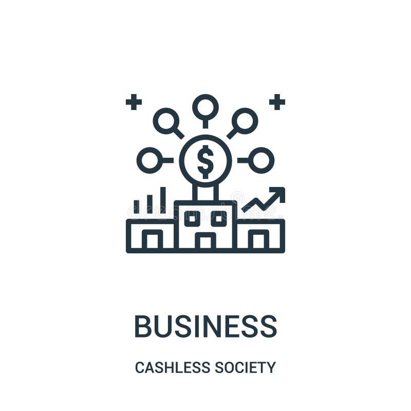 vetor do ícone do negócio da coleção cashless da sociedade Linha fina ilustra??o do vetor do ?cone do esbo?o do neg?cio ilustração do vetor