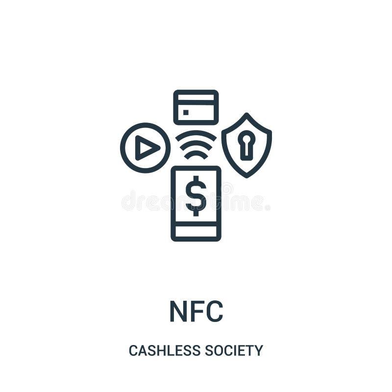 vetor do ícone do nfc da coleção cashless da sociedade Linha fina ilustração do vetor do ícone do esboço do nfc ilustração do vetor