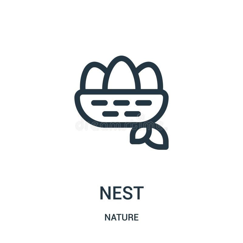 vetor do ícone do ninho da coleção da natureza Linha fina ilustração do vetor do ícone do esboço do ninho Símbolo linear para o u ilustração stock