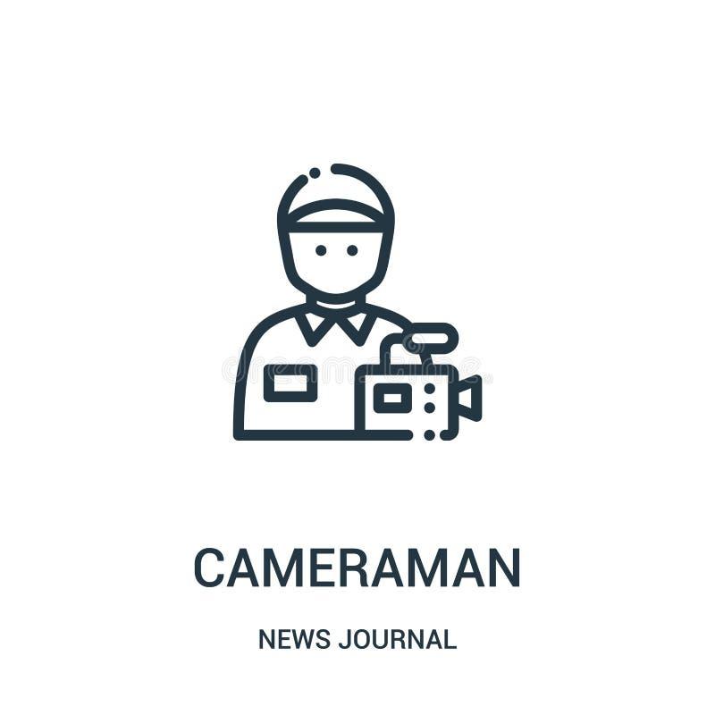 vetor do ícone do operador cinematográfico da coleção do jornal da notícia Linha fina ilustração do vetor do ícone do esboço do o ilustração stock