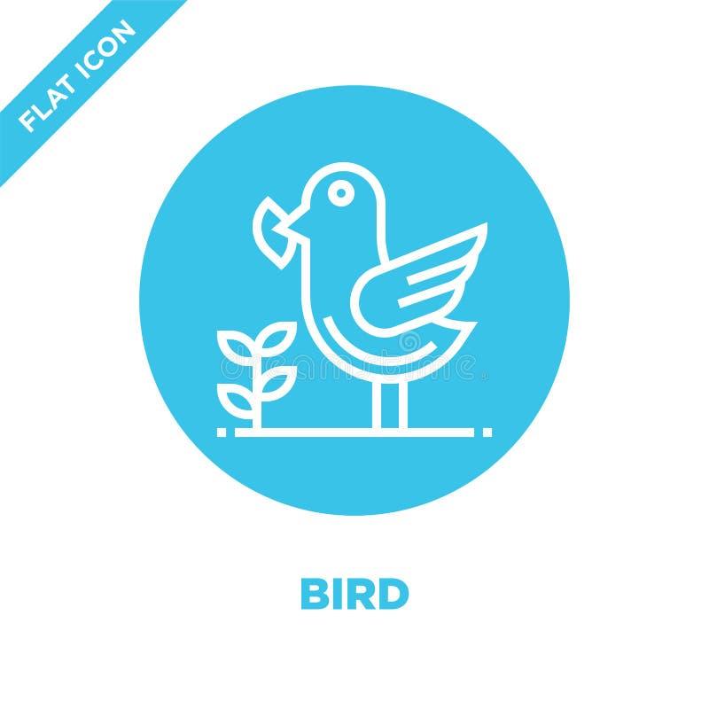 vetor do ícone do pássaro da coleção do aquecimento global Linha fina ilustração do vetor do ícone do esboço do pássaro Símbolo l ilustração stock