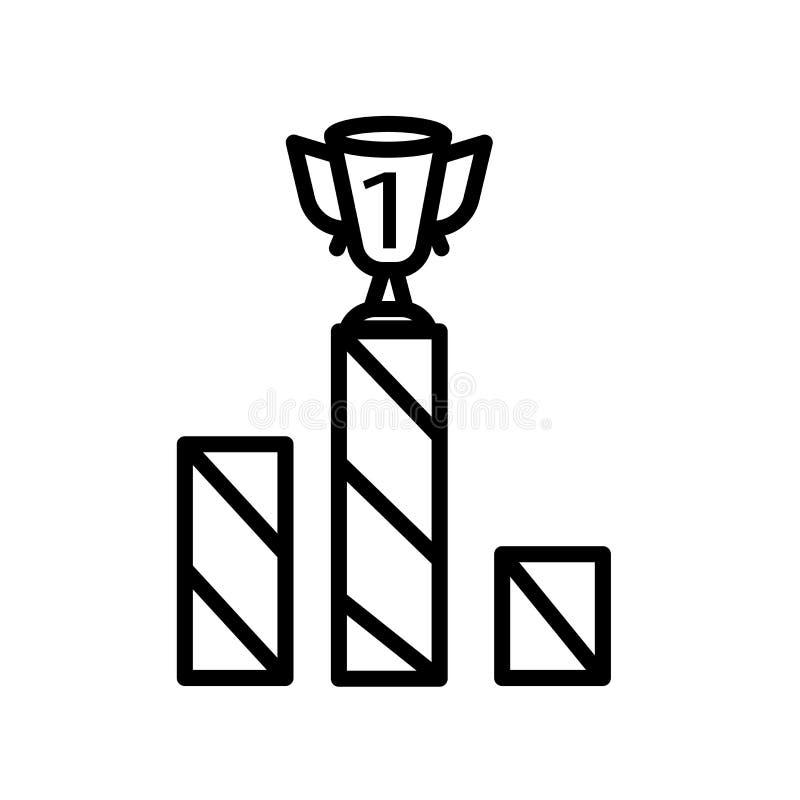 Vetor do ícone do pódio isolado no fundo branco, no sinal do pódio, no símbolo linear e nos elementos do projeto do curso no esti ilustração royalty free