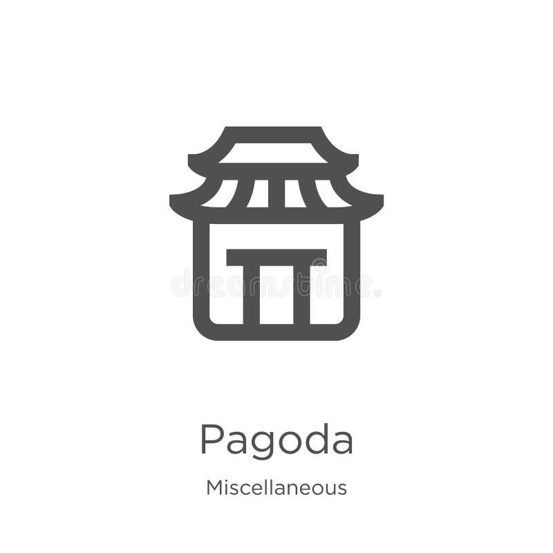 vetor do ícone do pagode da coleção variada Linha fina ilustração do vetor do ícone do esboço do pagode Esboço, linha fina pagode ilustração stock