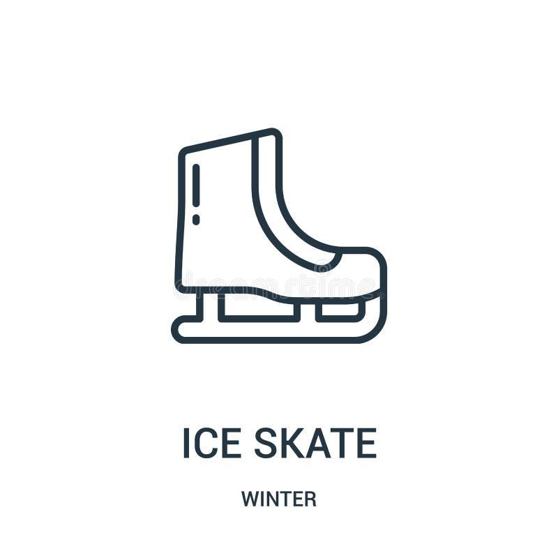 vetor do ícone do patim de gelo da coleção do inverno Linha fina ilustração do vetor do ícone do esboço do patim de gelo Símbolo  ilustração royalty free