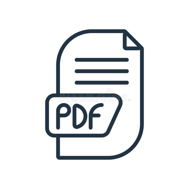 Vetor do ícone do pdf isolado no fundo branco, sinal do pdf ilustração do vetor