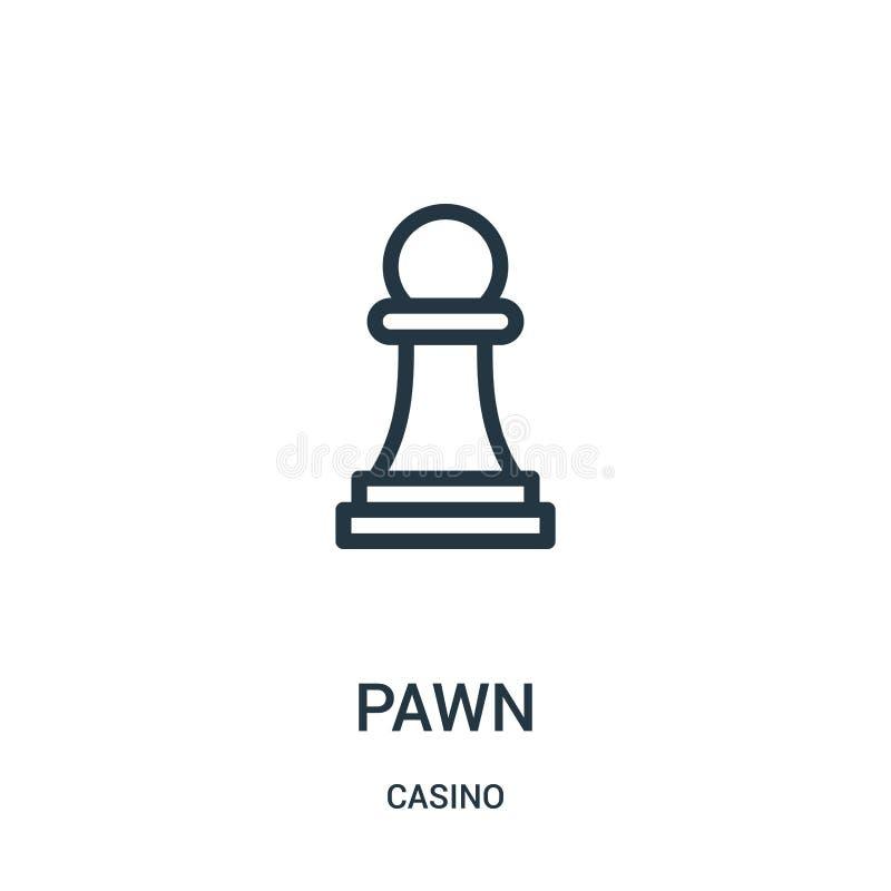 vetor do ícone do penhor da coleção do casino Linha fina ilustração do vetor do ícone do esboço do penhor ilustração royalty free