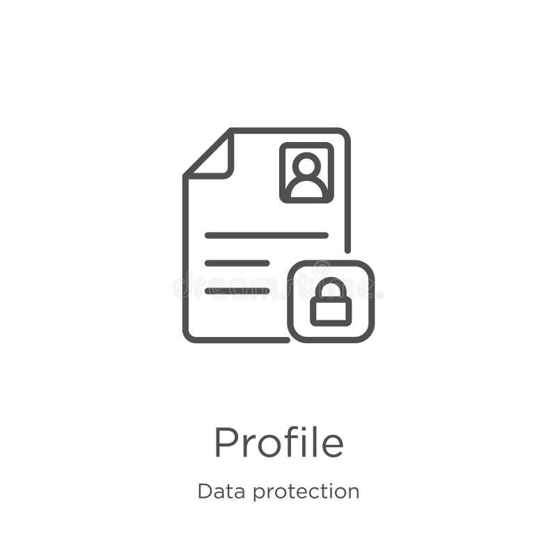 vetor do ícone do perfil da coleção da proteção de dados Linha fina ilustração do vetor do ícone do esboço do perfil Esbo?o, linh ilustração royalty free
