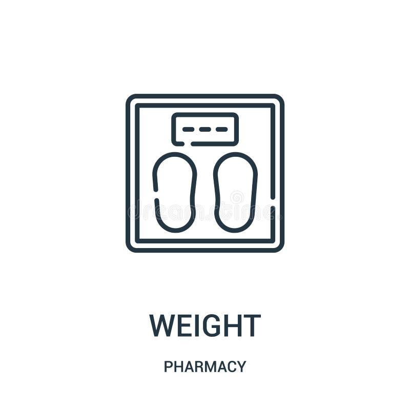 vetor do ícone do peso da coleção da farmácia Linha fina ilustra??o do vetor do ?cone do esbo?o do peso ilustração stock