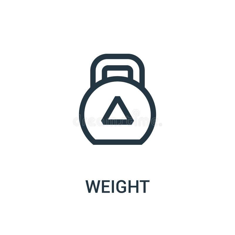 vetor do ícone do peso da coleção do gym Linha fina ilustração do vetor do ícone do esboço do peso ilustração do vetor