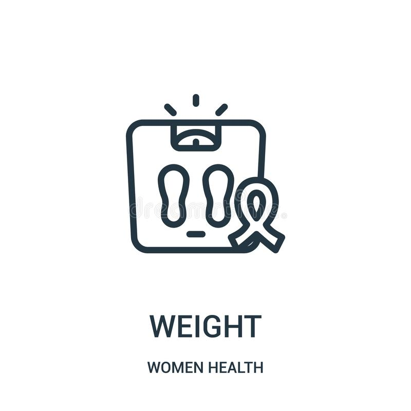 vetor do ícone do peso da coleção da saúde das mulheres Linha fina ilustração do vetor do ícone do esboço do peso ilustração stock