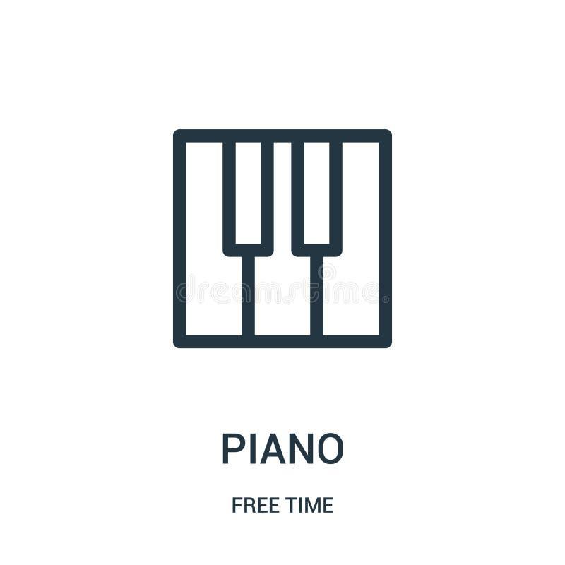 vetor do ícone do piano da coleção do tempo livre Linha fina ilustração do vetor do ícone do esboço do piano Símbolo linear para  ilustração stock