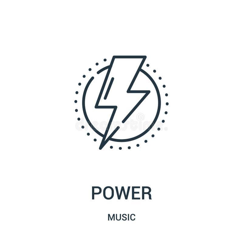 vetor do ícone do poder da coleção da música Linha fina ilustra??o do vetor do ?cone do esbo?o do poder ilustração do vetor