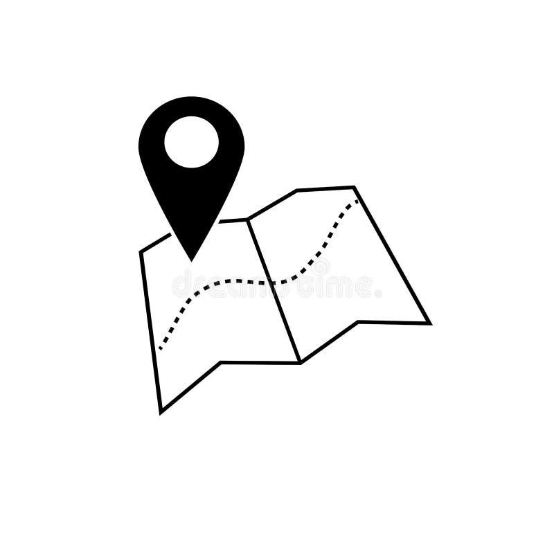 Vetor do ícone do ponteiro do mapa Símbolo de lugar de GPS Chiqueiro liso do projeto ilustração royalty free
