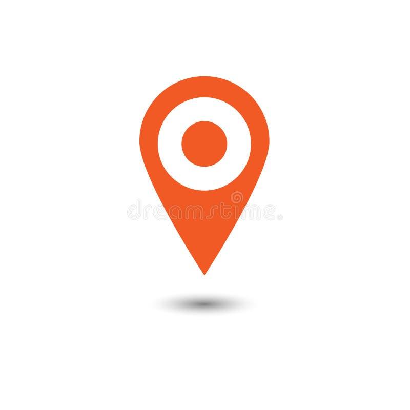 Vetor do ícone do ponteiro do mapa Símbolo de lugar de GPS Chiqueiro liso do projeto ilustração stock