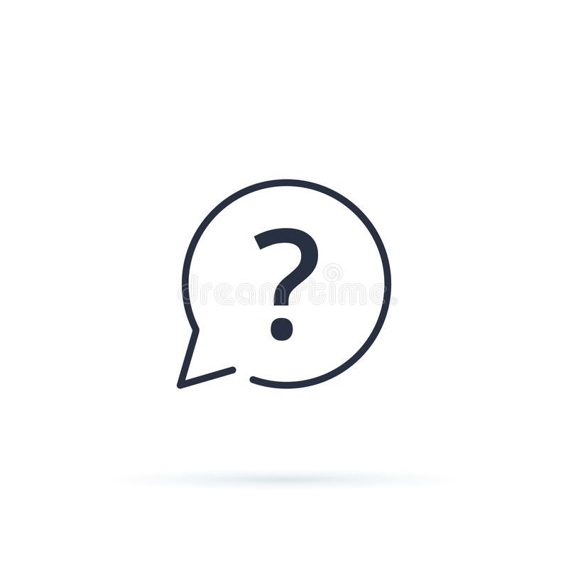 Vetor do ícone do ponto de interrogação Botão do FAQ para o Web site, relação linear do ui do ícone Conselho, para pedir, respond ilustração do vetor