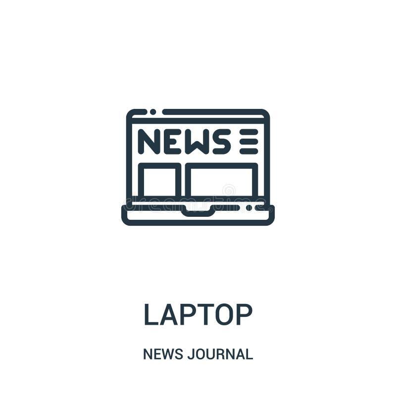 vetor do ícone do portátil da coleção do jornal da notícia Linha fina ilustração do vetor do ícone do esboço do portátil Símbolo  ilustração stock