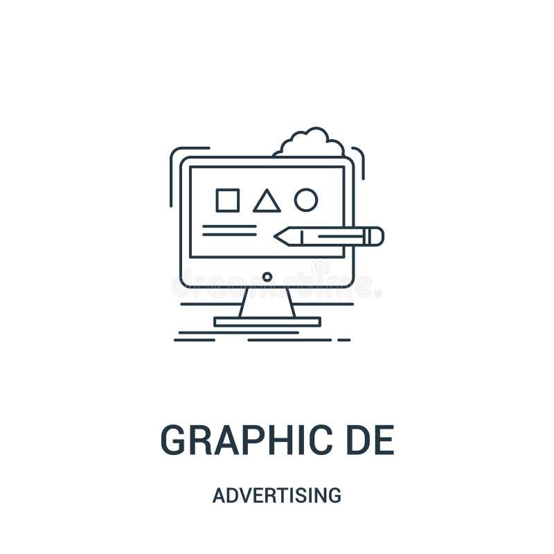vetor do ícone do projeto gráfico de anunciar a coleção Linha fina ilustração do vetor do ícone do esboço do projeto gráfico Símb ilustração stock
