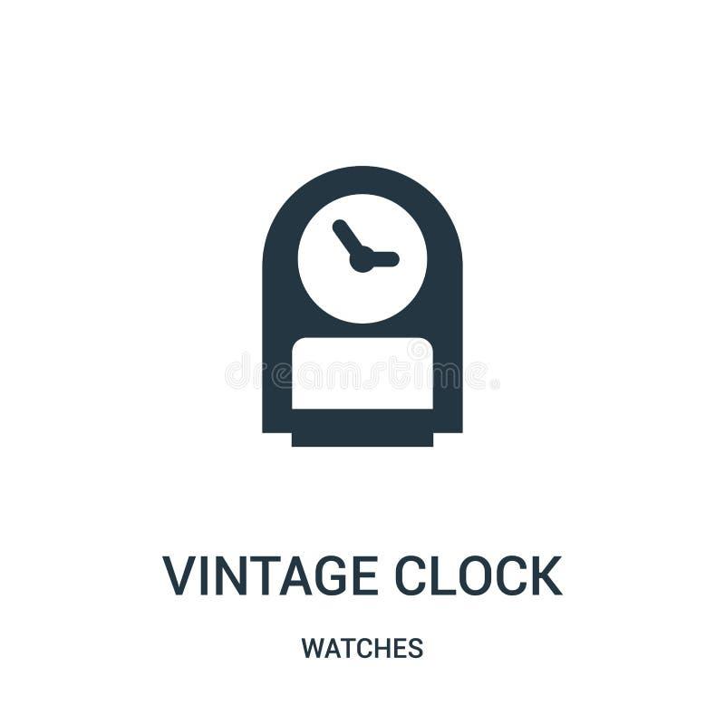 vetor do ícone do pulso de disparo do vintage da coleção de relógios Linha fina ilustração do vetor do ícone do esboço do pulso d ilustração stock