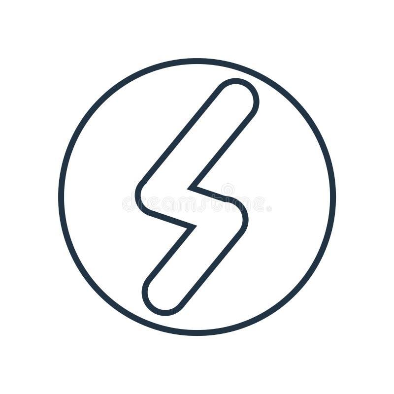 Vetor do ícone do raio isolado no fundo branco, sinal do raio ilustração do vetor
