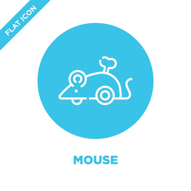 vetor do ícone do rato da coleção dos brinquedos do bebê Linha fina ilustração do vetor do ícone do esboço do rato Símbolo linear ilustração stock