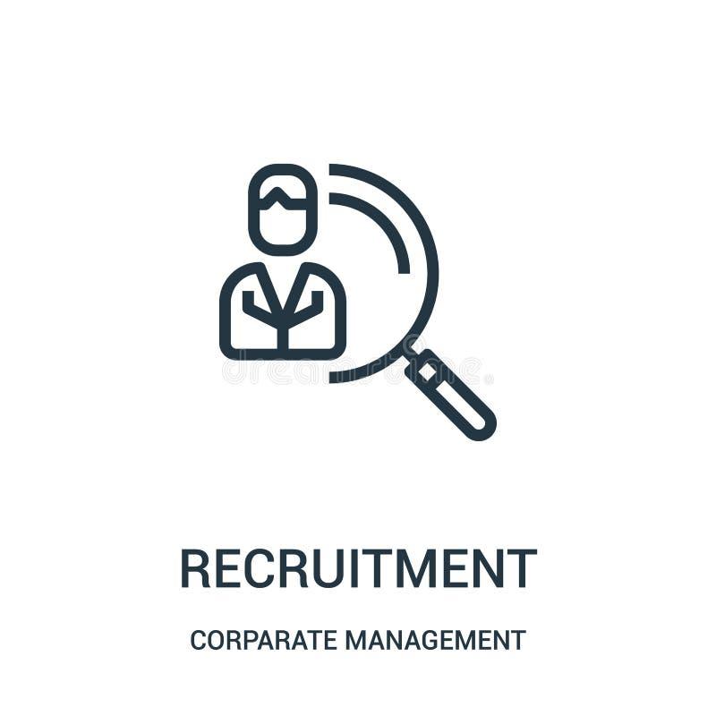 vetor do ícone do recrutamento da coleção da gestão incorporada Linha fina ilustração do vetor do ícone do esboço do recrutamento ilustração stock