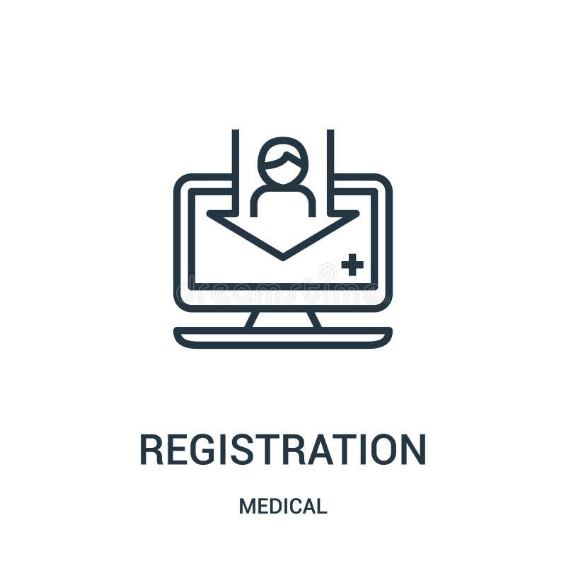 vetor do ícone do registro da coleção médica Linha fina ilustração do vetor do ícone do esboço do registro Símbolo linear para o  ilustração royalty free
