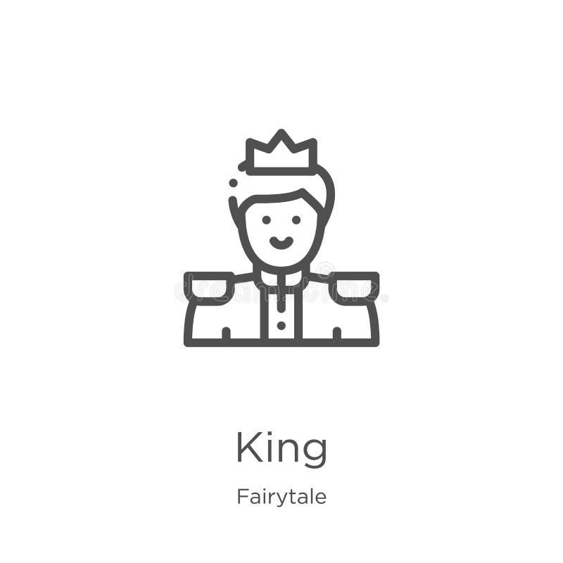 vetor do ícone do rei da coleção do conto de fadas Linha fina ilustra??o do vetor do ?cone do esbo?o do rei Esboço, linha fina íc ilustração stock
