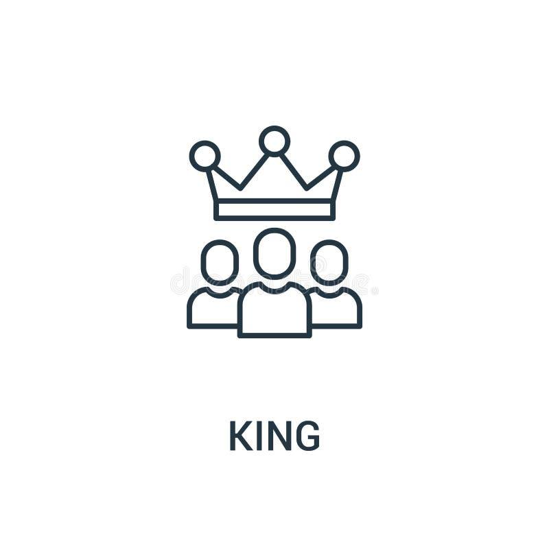 vetor do ícone do rei da coleção dos anúncios Linha fina ilustração do vetor do ícone do esboço do rei Símbolo linear para o uso  ilustração royalty free