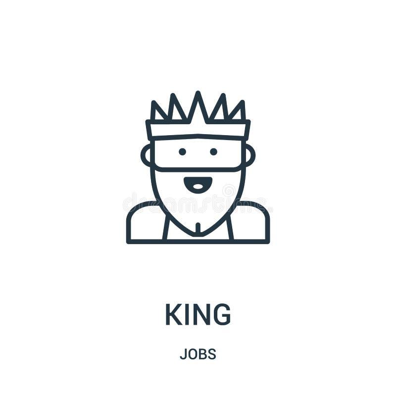 vetor do ícone do rei da coleção dos trabalhos Linha fina ilustra??o do vetor do ?cone do esbo?o do rei S?mbolo linear ilustração royalty free