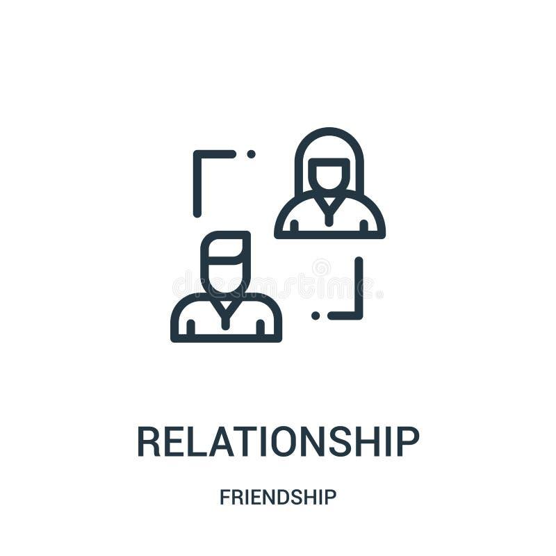 vetor do ícone do relacionamento da coleção da amizade Linha fina ilustração do vetor do ícone do esboço do relacionamento r ilustração stock