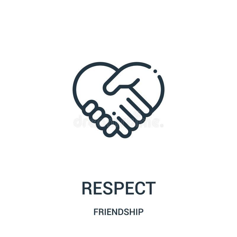 vetor do ícone do respeito da coleção da amizade Linha fina ilustração do vetor do ícone do esboço do respeito Símbolo linear par ilustração royalty free