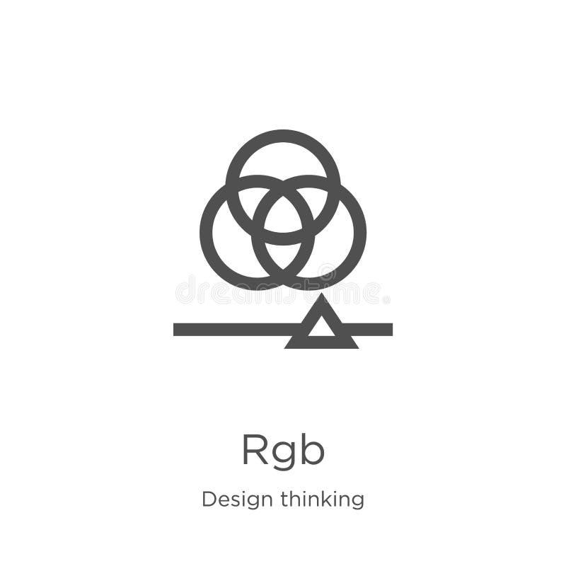 vetor do ícone do rgb da coleção de pensamento do projeto Linha fina ilustração do vetor do ícone do esboço do rgb Esboço, linha  ilustração do vetor