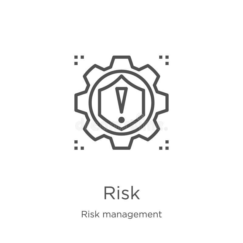 vetor do ícone do risco da coleção da gestão de riscos Linha fina ilustração do vetor do ícone do esboço do risco Esboço, linha f ilustração do vetor