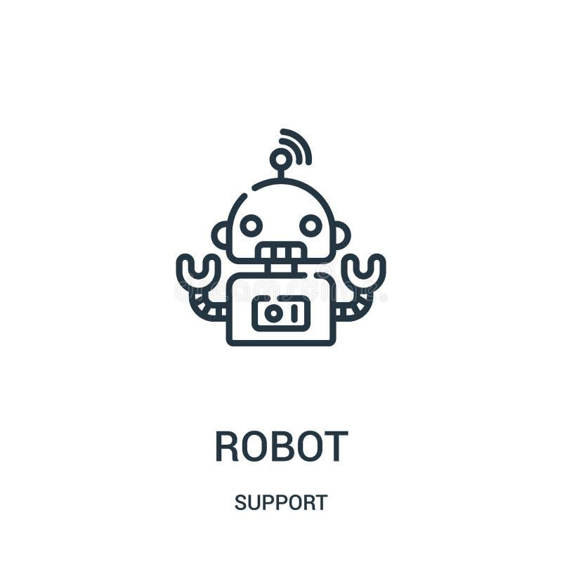 vetor do ícone do robô da coleção do apoio Linha fina ilustração do vetor do ícone do esboço do robô Símbolo linear para o uso na ilustração stock