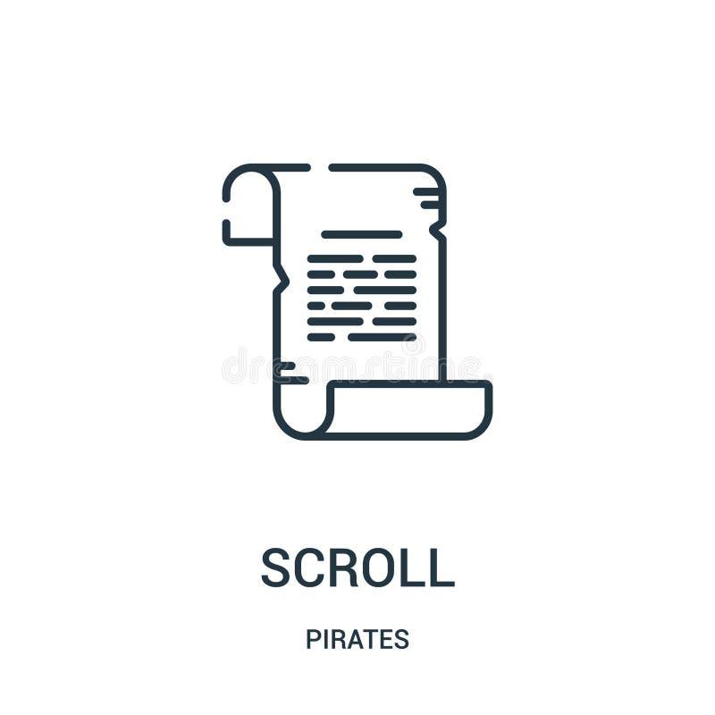 vetor do ícone do rolo da coleção dos piratas Linha fina ilustração do vetor do ícone do esboço do rolo Símbolo linear para o uso ilustração stock