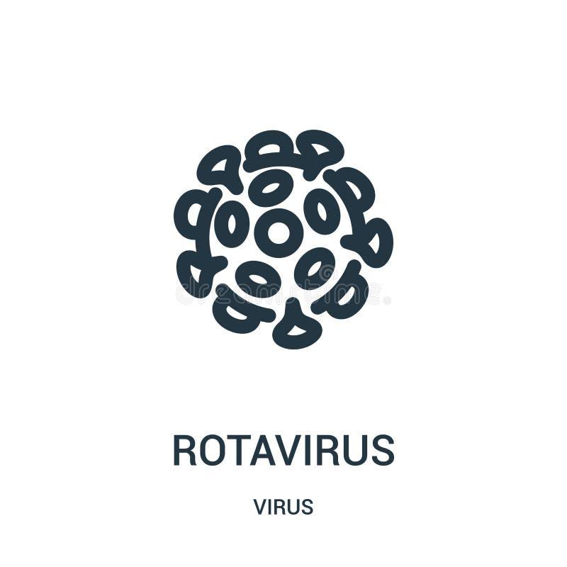 vetor do ícone do rotavirus da coleção do vírus Linha fina ilustração do vetor do ícone do esboço do rotavirus ilustração do vetor